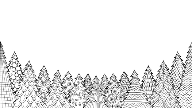 本を着色したり、ページを着色したり、ものに印刷したりするための白い背景に分離されたクリスマスツリーの線画。 Premiumベクター