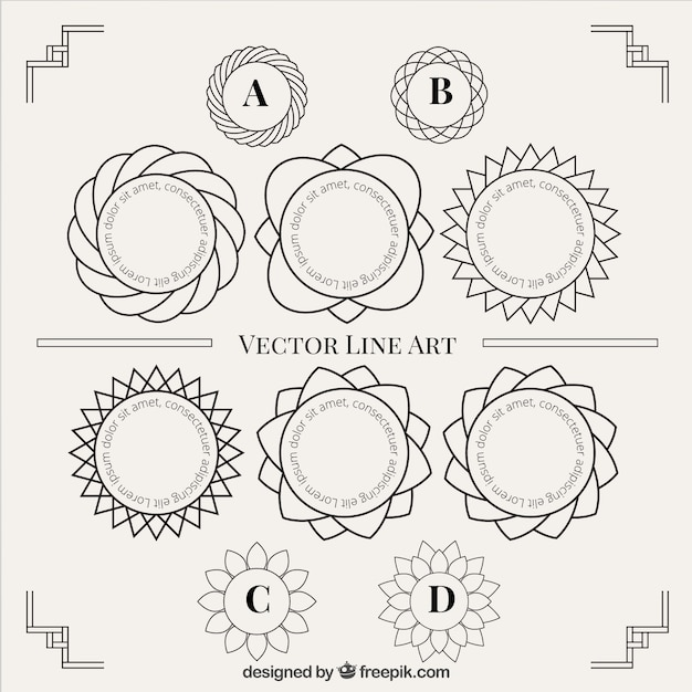 Vector Drawing Lines Download : Line art ornaments pack vector free download