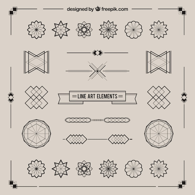 Line Art Vector : Line art retro elements vector free download