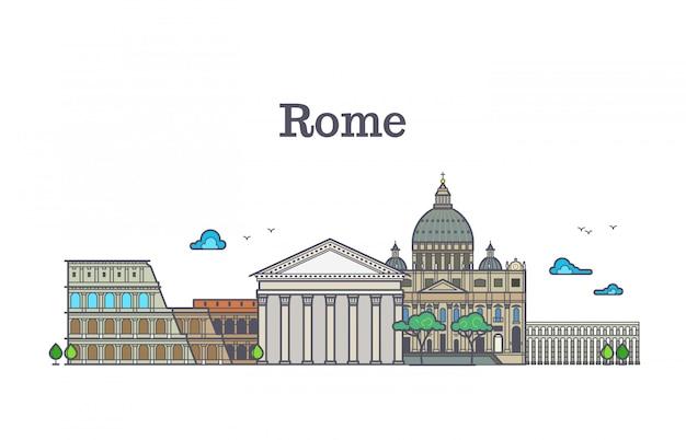 Line art rome architecture, italy buildings vector illustration Premium Vector