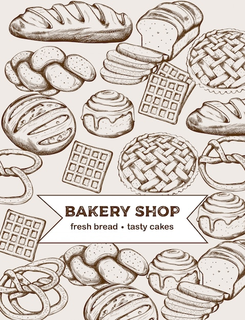 Line art set of bakery products including various types of bread and cakes Free Vector