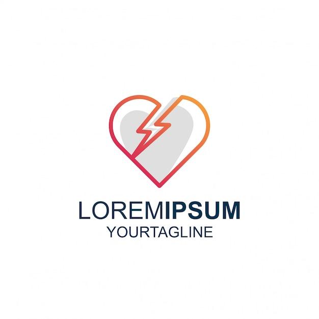 Line art thunder love удивительный логотип вдохновения Premium векторы