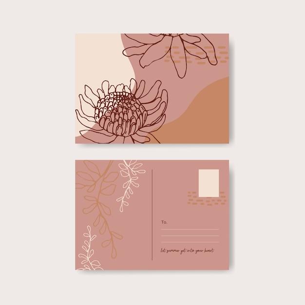 花と葉の手描きイラストとラインアートトロピカルポストカードデザイン。 無料ベクター