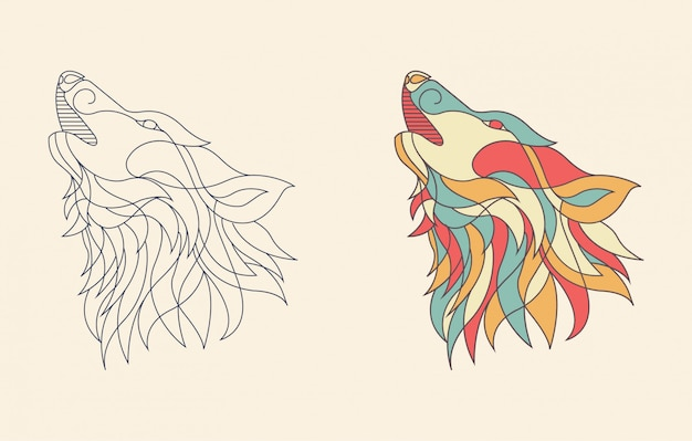 Line art wolf illustration Premium Vector