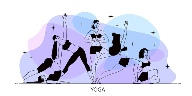 Line art woman yoga composition with elements of stars and female figures on gradient Free Vector