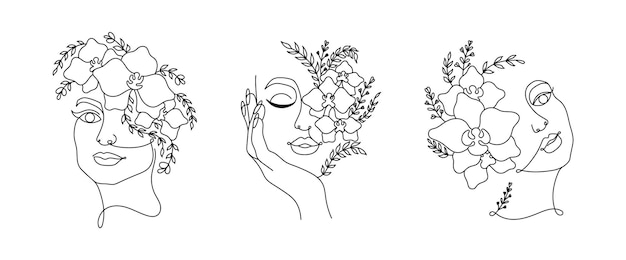 Line art women faces with flowers continuous line art in minimalistic style