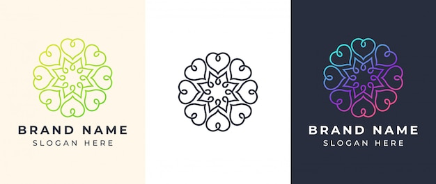 Line art мандала логотип Premium векторы