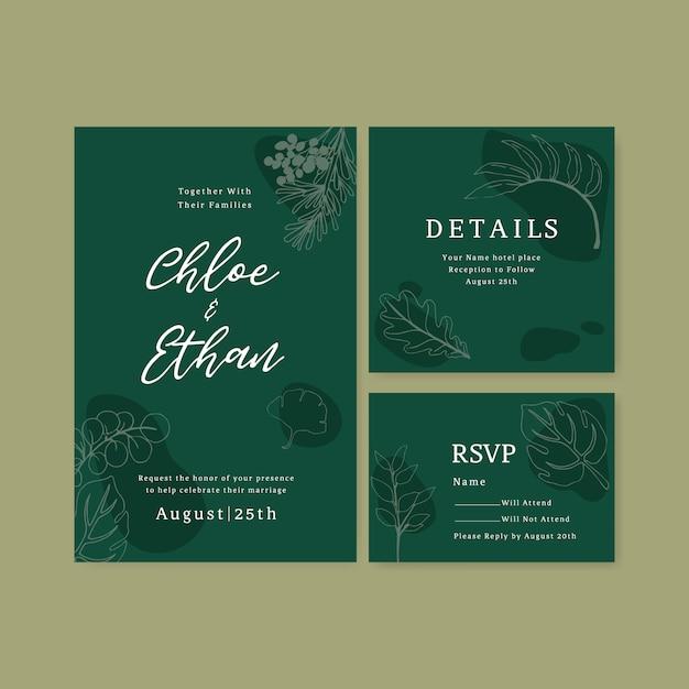 Line art тропический цветок на свадьбу пригласительный билет Бесплатные векторы