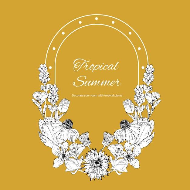 Цветочный венок с тропической иллюстрацией line art романтическая рамка Бесплатные векторы