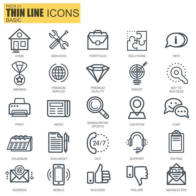 Line basic icons Premium Vector