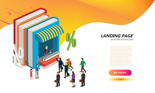 On line book store for landing page layout design template Premium Vector
