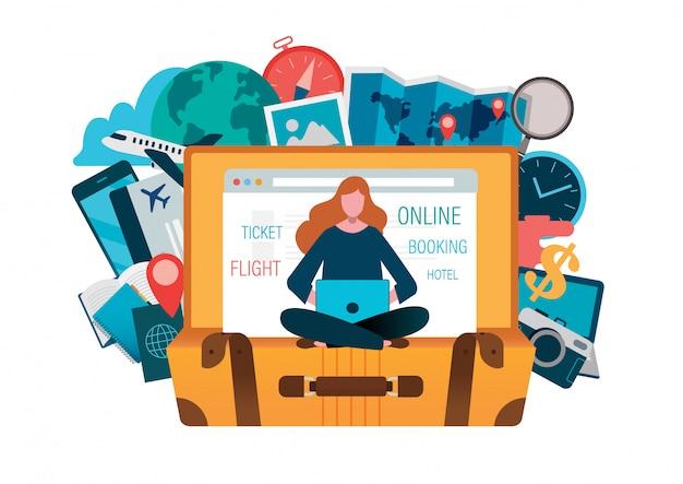 On line booking Premium Vector