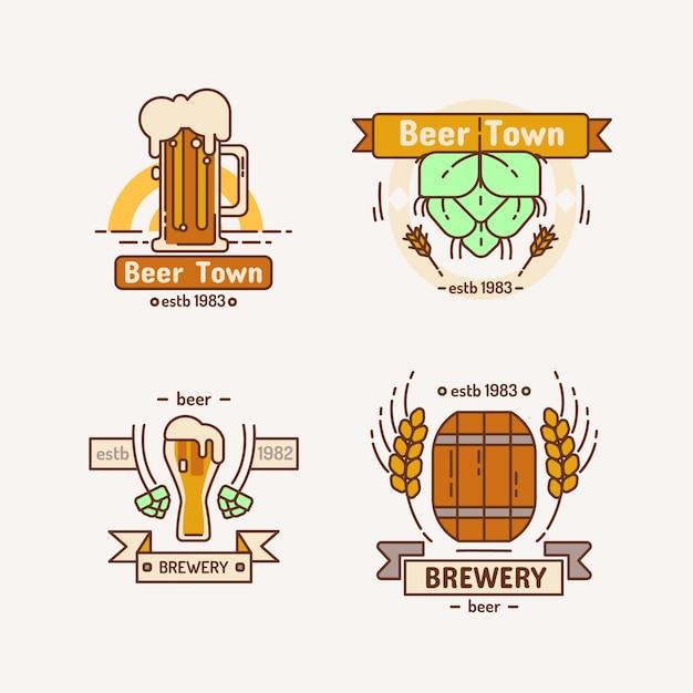 Line brewery logo set. Premium Vector