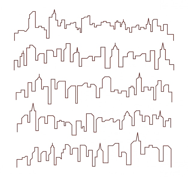 Line building cityscape design Premium Vector