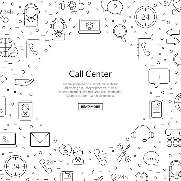 Line call support center icons with place for text illustration Premium Vector