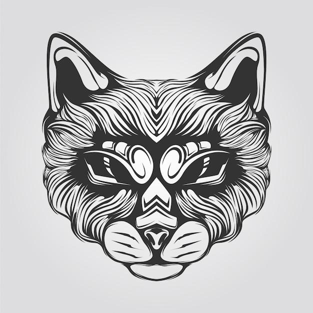Line of cat head with decorative eyes Vector   Premium ... (626 x 625 Pixel)