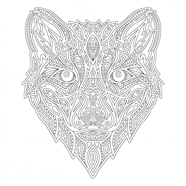 Line  coloring book with wolf head Premium Vector