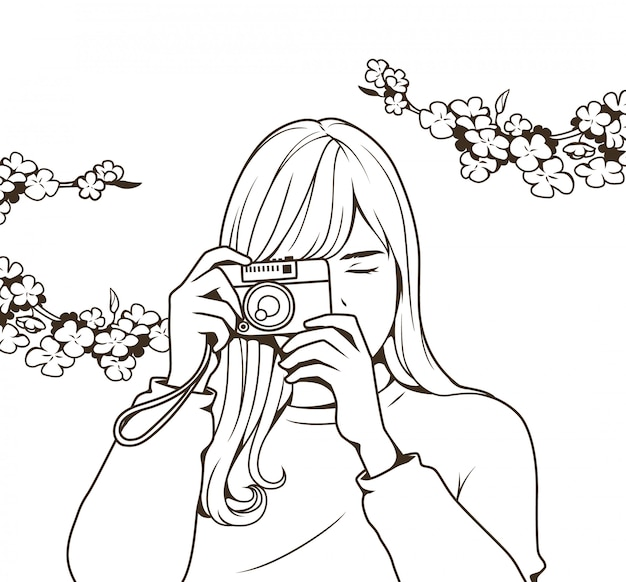 Line drawing beautiful girl holding a camera Premium Vector