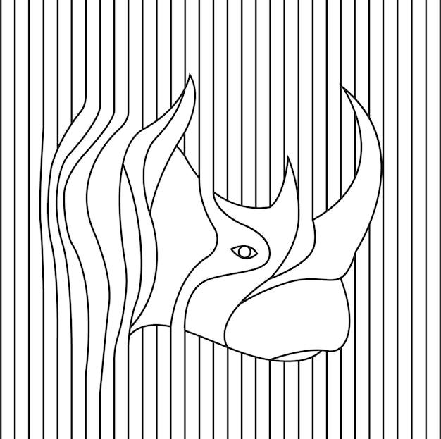 Line drawing of rhino head vector illustration Premium Vector