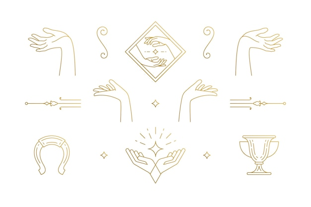 Линия элегантные украшения набор элементов дизайна - женский жест руки иллюстрации минимальный линейный стиль. коллекция богемной нежной контурной графики для логотипов, эмблем и брендов продукции Premium векторы