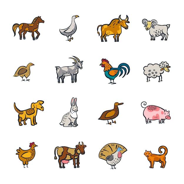 Line farm animals set Free Vector