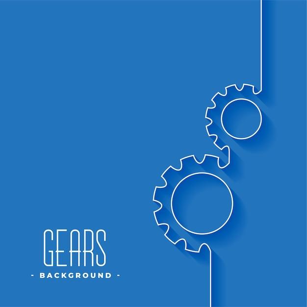 Символ линии шестерни на синем фоне дизайн Бесплатные векторы