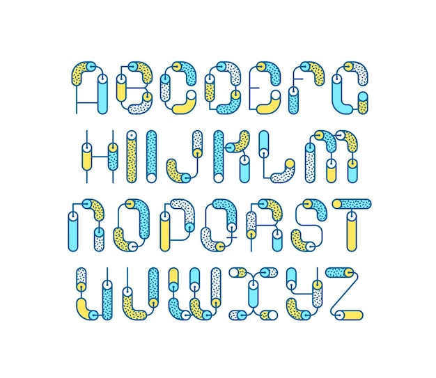 Линия геометрическая цветная линия латинского шрифта, графический декоративный шрифт. Premium векторы