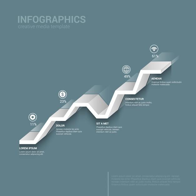 Линейный график диаграммы моно цвет инфографики шаблон Бесплатные векторы