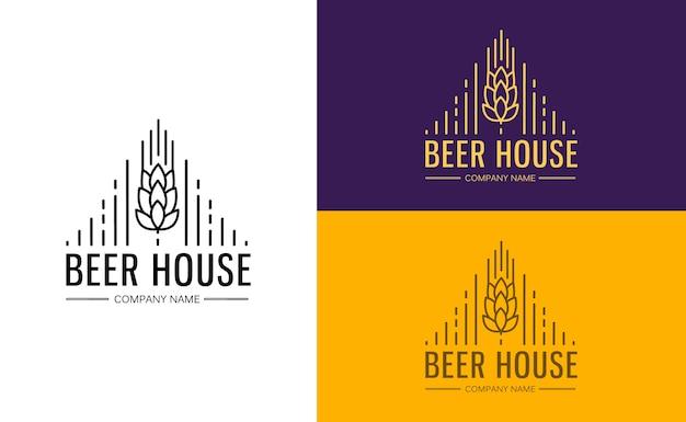 Шаблон монограммы линейной графики с логотипами, эмблемами для пивной, бара, паба, пивоваренной компании, пивоварни, таверны Бесплатные векторы