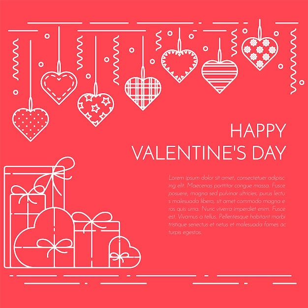 Line horizontal banner for saint valentine's day and date theme. Premium Vector