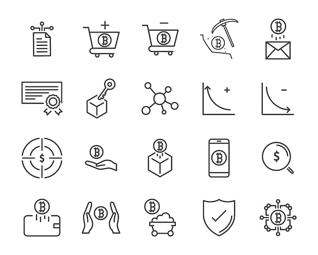 Line icon set,cryptocurrency icon, blockchain icon collection, vector illustration Premium Vector