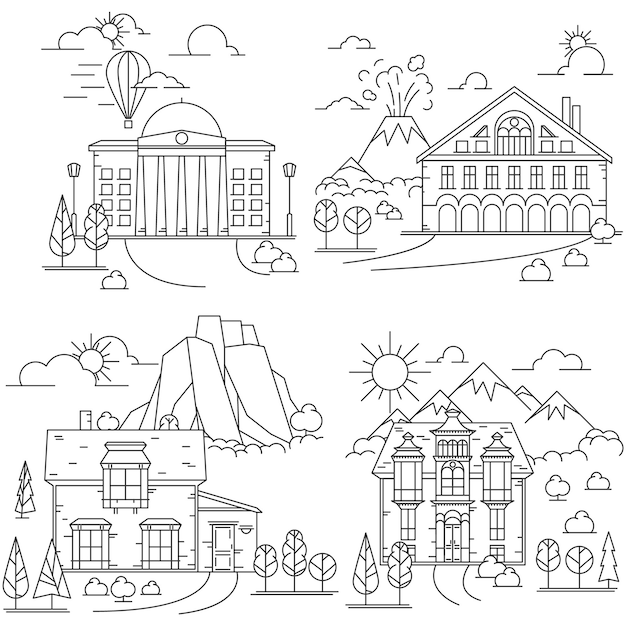 Line icon set of house in nature landscapes with mountains, volcano and rocks Premium Vector