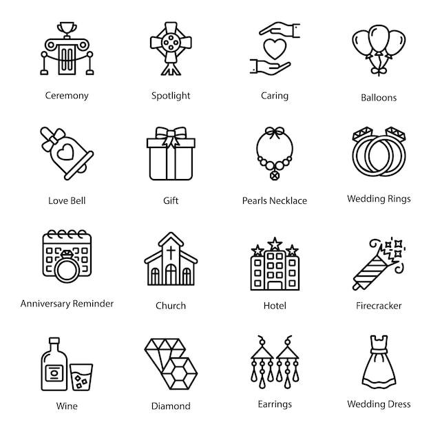 Line icons of love and valentine Premium Vector