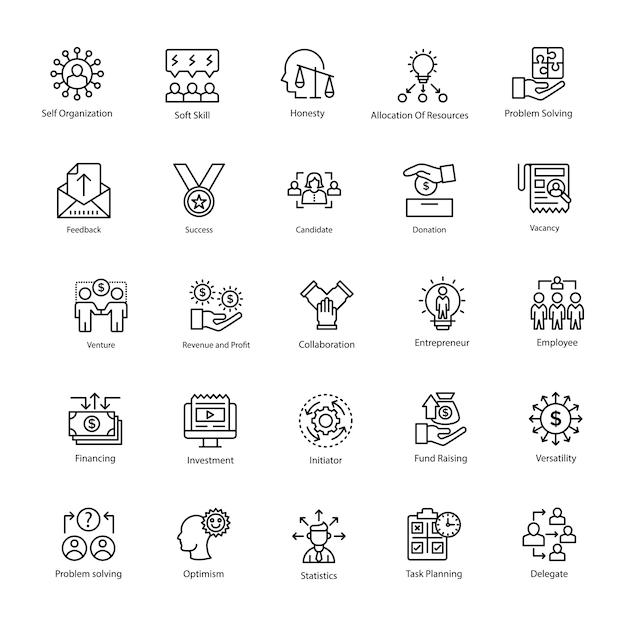 Line icons set of business management Premium Vector