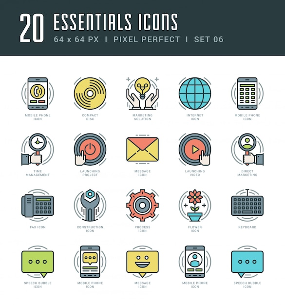Line icons set trendy modern flat thin linear stroke essentials objects concept. Premium Vector