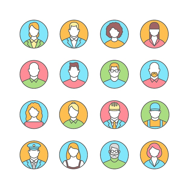 Line icons with flat design elements of people avatars profession. Premium Vector