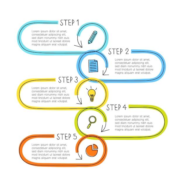 5つのステップを持つラインインフォグラフィックコンセプト、テキストボックスはタイムライン、ワークフロー、ビジネスまたは教育に使用できます Premiumベクター