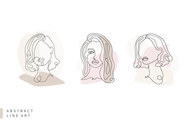 Абстрактная коллекция произведений искусства line laconic триколор женское лицо Premium векторы