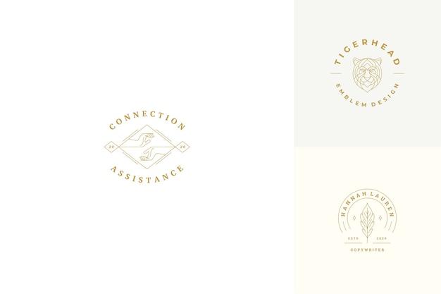 Линия логотипов эмблемы набор шаблонов дизайна - женский жест руки иллюстрации простой минимальный линейный стиль. контурная графика для косметологии, брендинга и копирайтера. Premium векторы