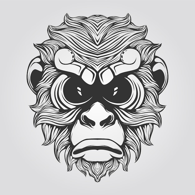 Line of monkey in black and white color Premium Vector