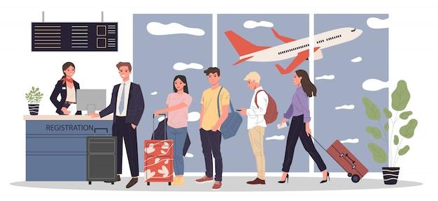 Очередь пассажиров на стойке регистрации аэропорта Premium векторы