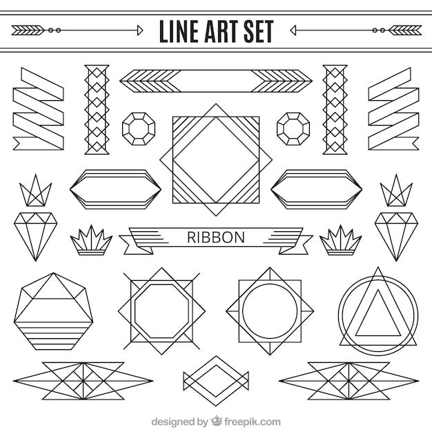 Vector Drawing Lines Download : Line ornaments set vector free download