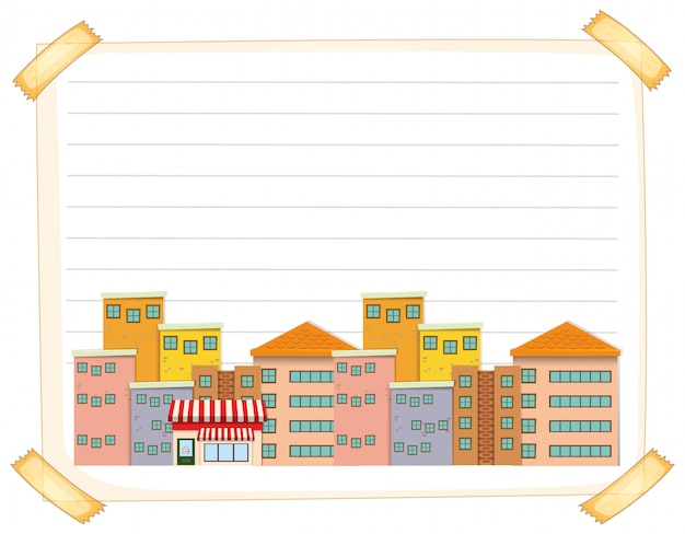 Line paper template with buildings Free Vector