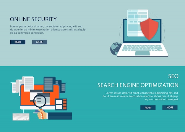 On line security and seo Free Vector