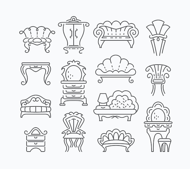 Line set of graphical retro furniture items, outline isolated vintage furniture objects. Premium Vector