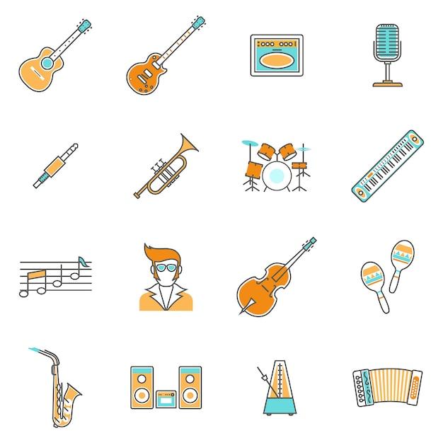 Музыкальные иконки line set Premium векторы