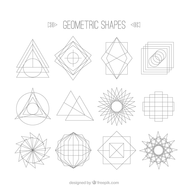 Line And Shape Art : Line shapes collection vector premium download