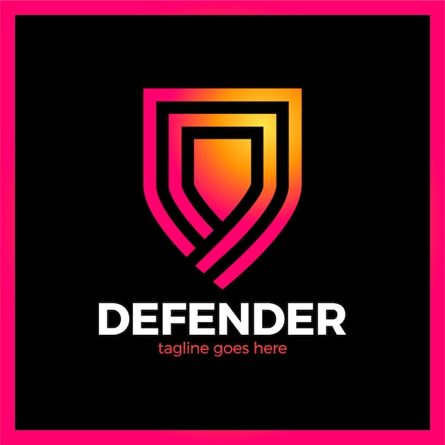 Line shield logotype. three outline defense icon. Premium Vector