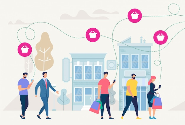 On-line shopping and network. vector illustration. Premium Vector