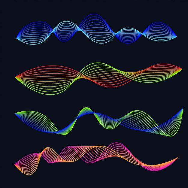 Линия звуковых волн градиента установлена. аудио форма волны Premium векторы